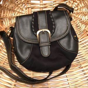 Tommy Hilfiger Black Suede Leather Crossbody Bag